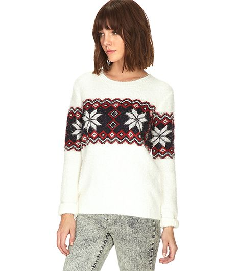 Forever 21 Forever 21 Fuzzy Fair Isle Sweater