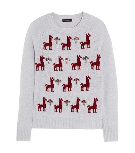 J.Crew J.Crew Embellished Llama-Intarsia Wool Sweater