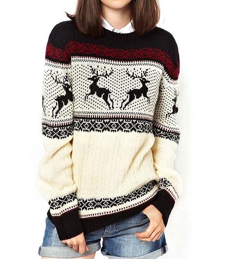She Inside She Inside Black Round Neck Deer Pattern Fairisle Sweater