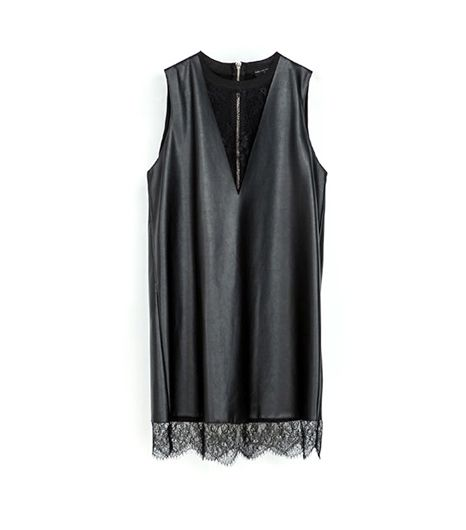 Zara Zara Faux Leather Dress With Lace