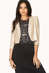 Forever 21  Showstopper Sequin Cropped Jacket