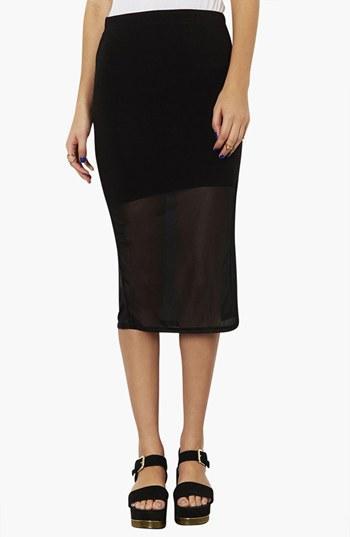 Topshop  Mesh Hem Tube Skirt