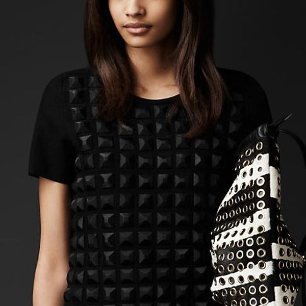 Burberry Prorsum Geometric Bead Wool T-Shirt