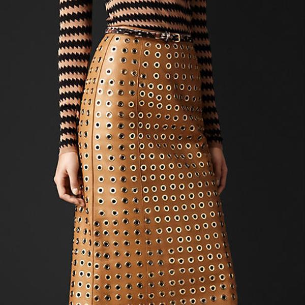 Burberry Prorsum  Leather Eyelet Skirt
