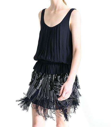 Zara Zara Fringed Crepe Dress
