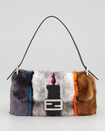 Fendi  Bagquette Striped Mink Fur Bag
