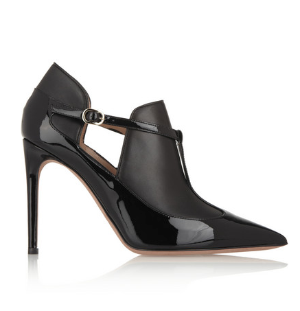 Valentino  Matte And Patent-Leather Ankle Boots