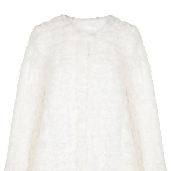 Miss Selfridge  White Collarless Fur Coat