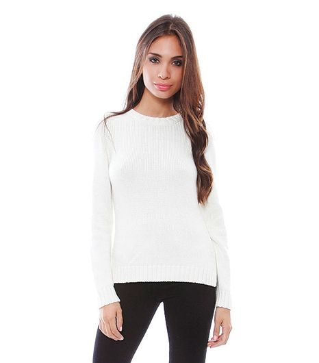 525 America High Low Back Button Detail Crew Neck Sweater