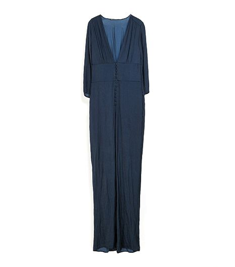 Zara Long Jumpsuit With Low Neckline
