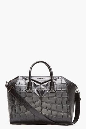 Givenchy  Black Leather Croc-Embossed Antigona Duffle Bag