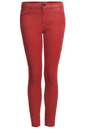Topshop  Moto Red Coated Leigh Jeans