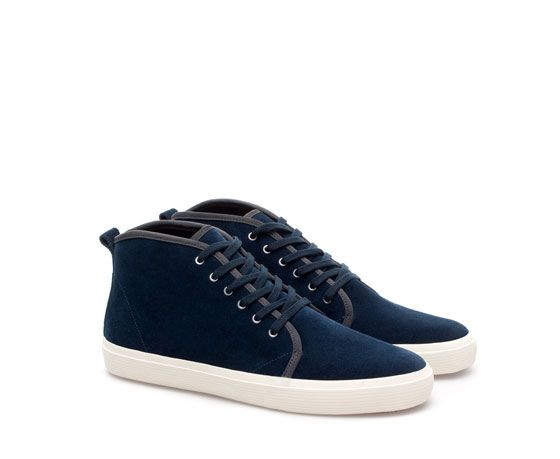 Zara  Leather Sneaker Boots with Edging