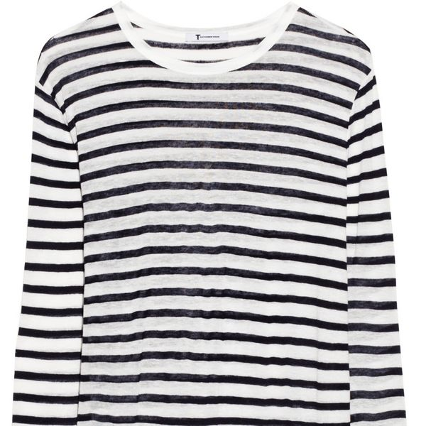 T by Alexander Wang Striped Fine-Knit Top