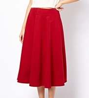 ASOS Midi Skirt With Stitch Waist Detail