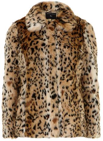 Dorothy Perkins Faux Fur Leopard Print Coat