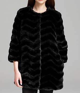 Sam Edelman Luci Chevron Faux Fur Coat