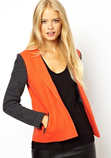 ASOS Jacket With Knitted Contrast Sleeve