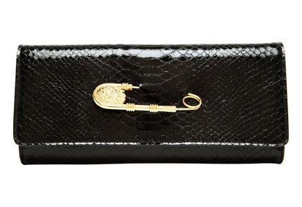 Versus Python Embossed Leather Clutch