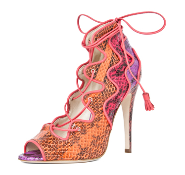 Brian Atwood Kayla Snakeskin Lace Up Bootie