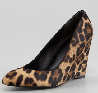 B Brian Atwood Bejo Leopard-Print Calf Hair Wedge