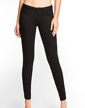 Guess Brittney Black Mid-Rise Denim Leggings With Rinse