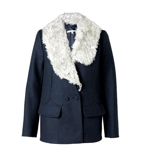 Carven Faux Fur Collar Heavy Wool Mix Blazer