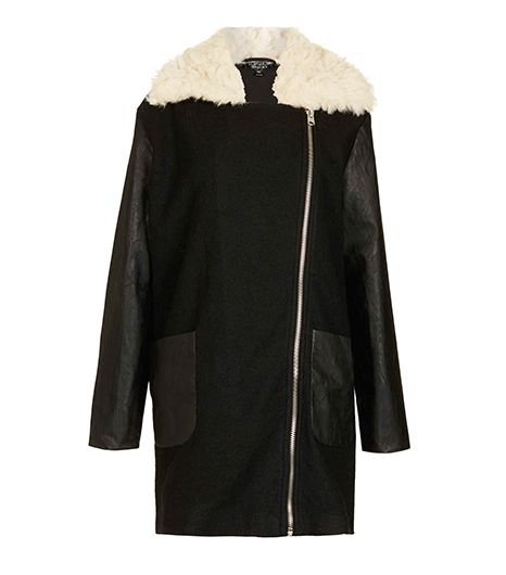 Topshop Textured Fur Lined Coat