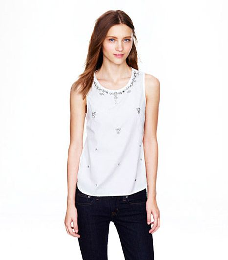 J. Crew  J. Crew Jeweled Cotton Shell