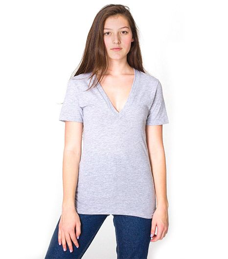 American Apparel  American Apparel Unisex Sheer Jersey Short Sleeve Deep V-Neck