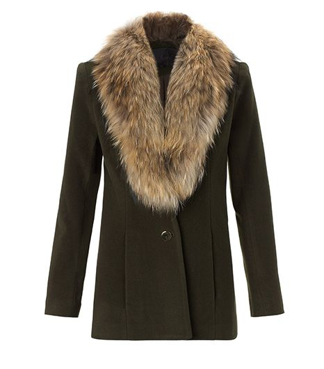 Nonoo Khaki Fur Collar Jacket