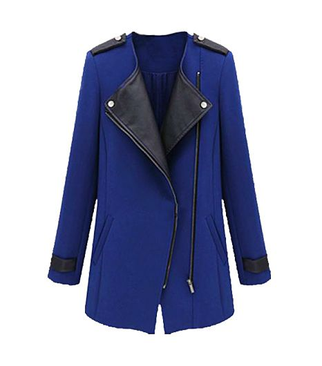 Sheinside Blue Contrast Zipper Coat