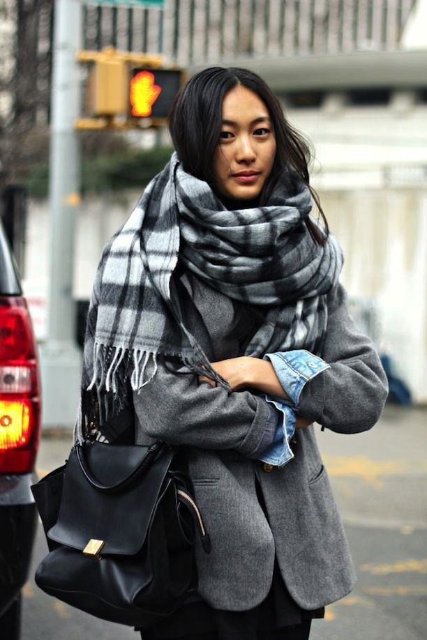 Cosy Plaid Scarves, 2 Ways: Winter Street Style Snaps From New York City