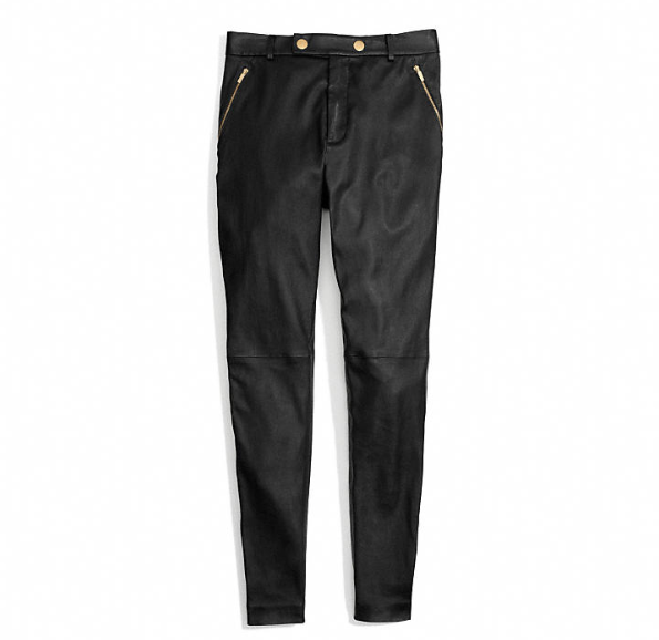 Coach  Leather High Waisted Trousers