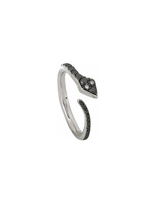 Black Diamond Snake Ring ($2570) in 18K White Gold with Black & White Diamonds