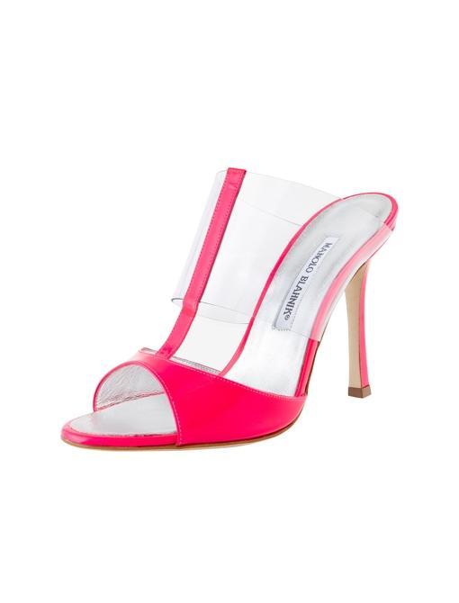 Rip Patent & Vinyl T-Strap Slide Heels ($735) in Pink