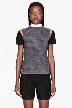 Cedric Charlier  Grey-Embossed Tulle-Trim Sweater