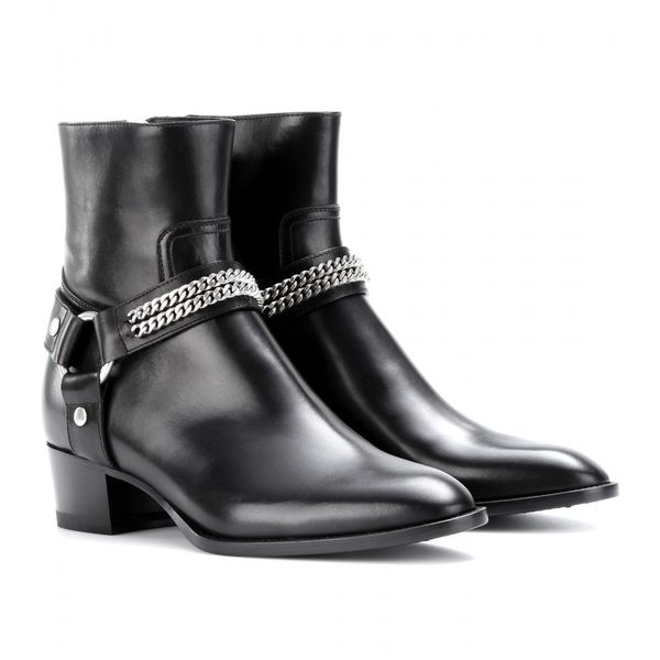 Saint Laurent  Rock Leather Ankle Boots