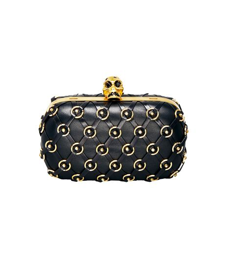 Alexander McQueen  Leather Net Skull-Clasp Clutch