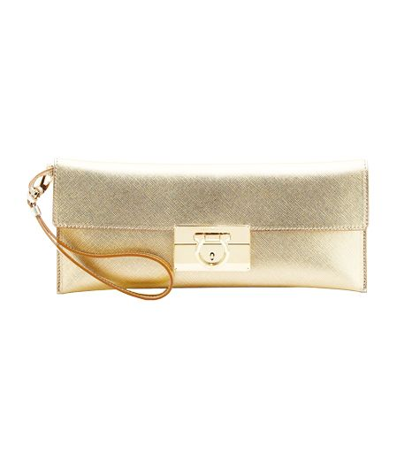 Salvatore Ferragamo  Lock Story Metallic Clutch