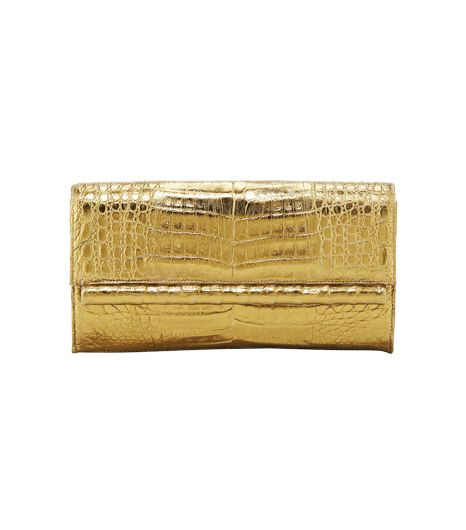 Nancy Gonzalez Crocodile Front Flap Bar Clutch