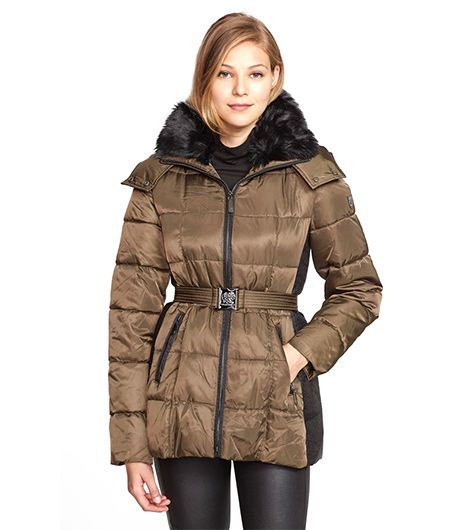 Vince Camuto  Belted Puffer Coat with Faux Fur Collar