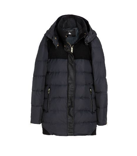 Zara  Combination Wool & knit Puffer Jackets