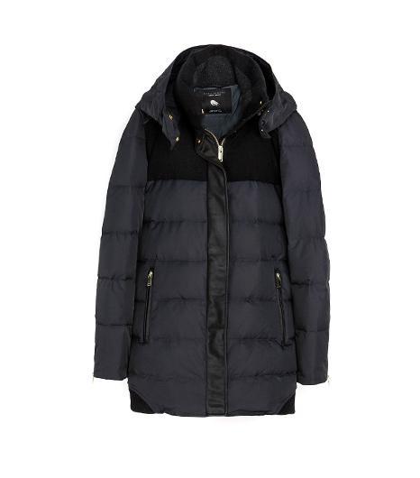 Zara  Combination Wool & knit Puffer Jackets