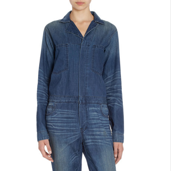 6397  Hidden Placket Denim Jumpsuit
