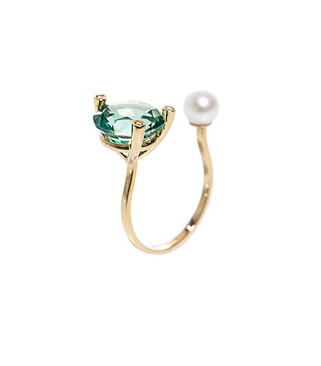 Delefina Delettrez Delefina Delettrez Diamonds, Topaz, Pearl, and Gold Ring