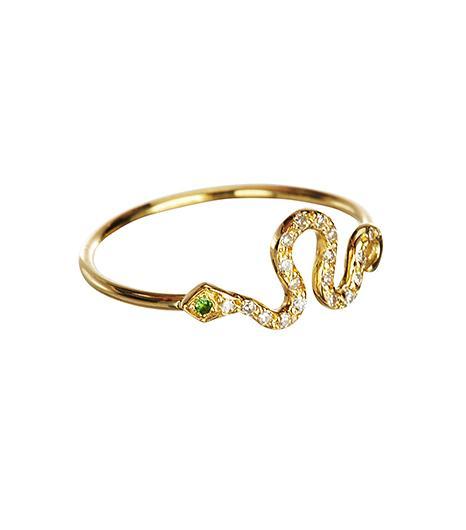 Ileana Makri  Ileana Makri Diamond & Tsavorite Mini Snake Ring