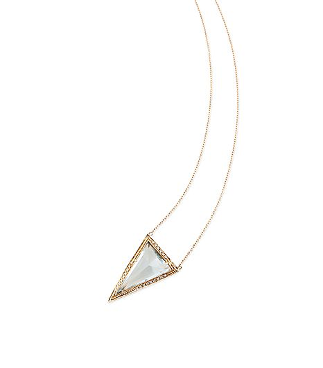 Jacquie Aiche   Jacquie Aiche 14K Partial Diamond Long Triangle Light Blue Crystal Necklace