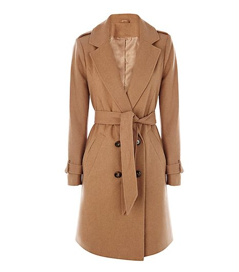 A belted waist not only slims your figure but also adds a touch of insouciance to this military-detailed coat. 