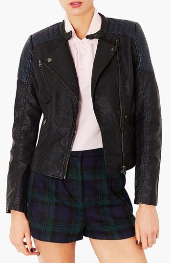 Topshop  Quilted Shoulder Biker Jacket